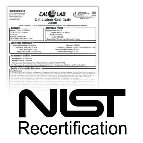 NIST Re-certification for Temperature Sensors